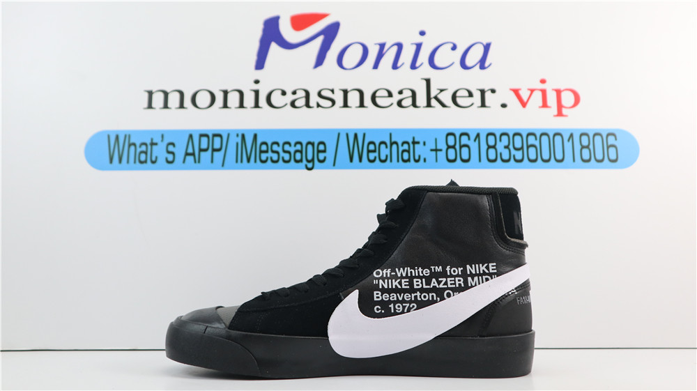 "PK(update laces) OFF-WHITE X NIKE BLAZER MID BLACK ""GRIM REEPERS"" RETAIL MATERIALSFRO"